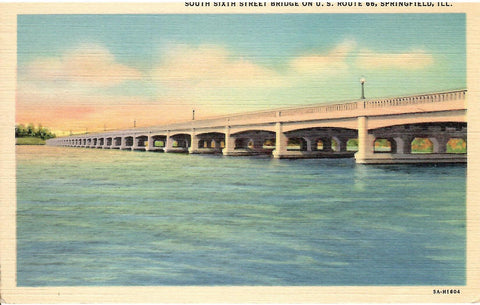 "U.S. ROUTE 66 ""SOUTH SIXTH STREET BRIDGE"" SPRINFIELD ILLINOIS LINEN POSTCARD"