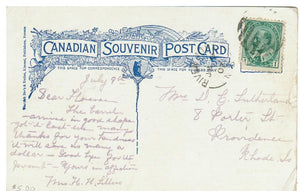 N.S. RIVER JOHN. 1907 SPLIT RING OPEN 1843. POSTCARD. CANADA.