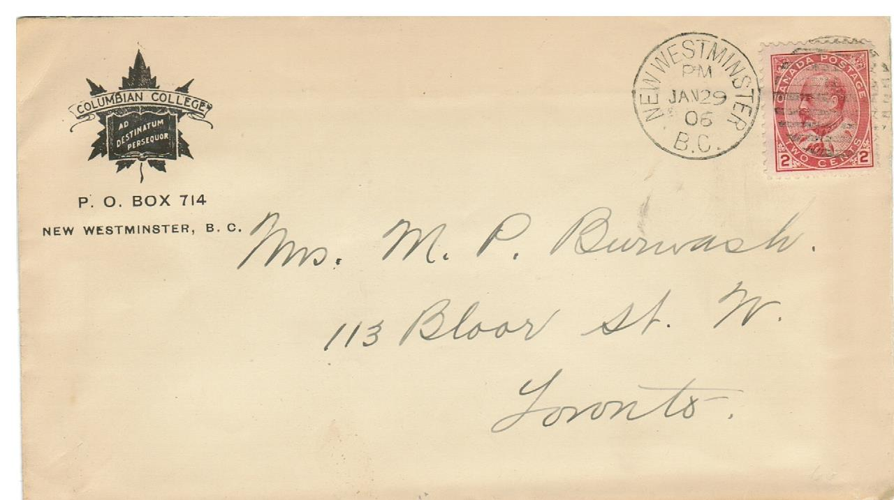 "ADVERTISING. B.C. NEW WESTMINISTER 1906. ADVERTISING COVER ""COLUMBIAN COLLEGE"" TO TORONTO. B/S."