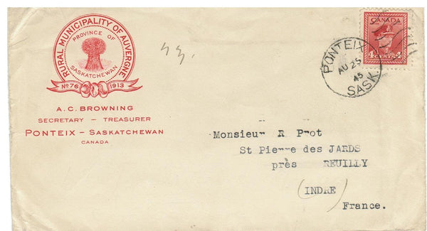 "SK. PONTEIX 1945 ADVERTISING COVER "" RURAL MUNICIPALITY OF AGRICULTURE"" CANADA"