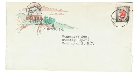 "ADVERTISING.  B.C. CLINTON.  1956.  MULTI-COLOURED.  ""FRONTIER HOTEL"""