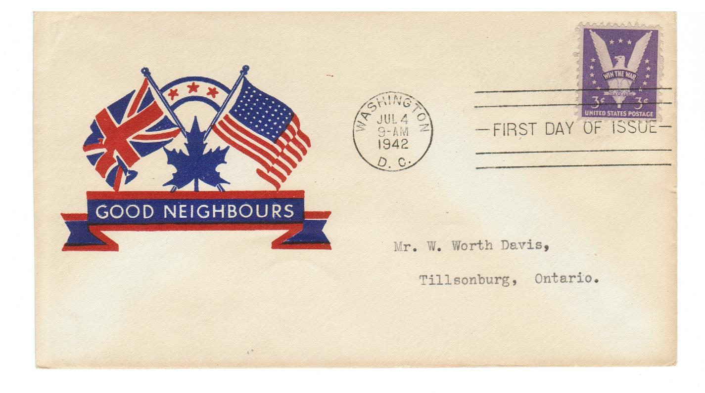 "U.S. FDC #905 Military PATRIOTIC ""GOOD NEIGHBOURS"" Flags JUNE 4, 1942"
