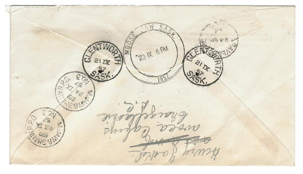 SK. GLENWORTH 1957. REGISTERED COVER TO GRAVELBOURG, SK. B/S. BARREL MOOSE JAW.  RPO M.JAW & SHAUN No. 3
