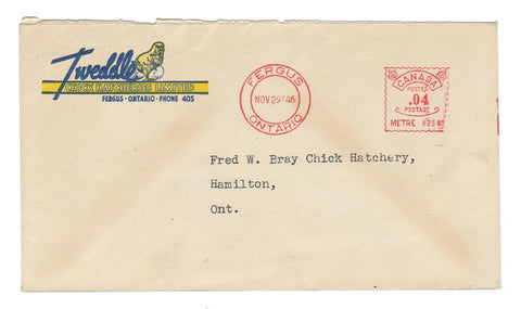 "ONT, FERGUS. 1946. METRE MULTI-COLOURED ADVERTISING COVER. ""CHICK HATCHERIES"" TO HAMILTON, ONT."