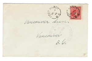 "B.C., PORT HARDY. 1945. SPLIT RING. (1904-OPEN). BACK: CANADIAN MILITARY ARMY ACTIVE""."