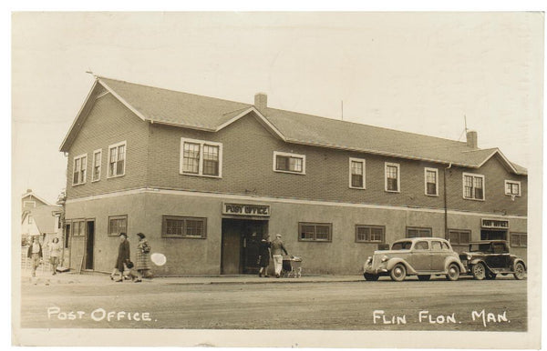 MB. FLIN FLON. RPPC. 1930'S. POST OFFICE & CARS
