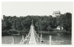 MB, SOURIS. RPPC. SUSPENSION BRIDGE. (SPARKLETONE PRINTS PHOTO).