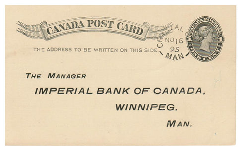MB CRYSTAL CITY. 1894 SPLIT RING (1879-OPEN) TIED QV POSTAL STATIONERY CARD TO TORONTO, ONT. SUPERB POSTMARK. B/S