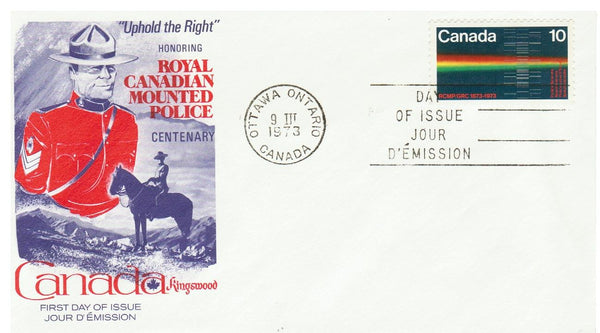 R.C.M.P.: FDC (3) (COMMISSIONER G.A. FRENCH AND MAP 8 CENT & (SPECTOGRAPH 10 CENT) & (R.C.M.P. MUSICAL RIDE 15 CENT). KINGSWOOD CACHET.