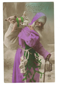 GREETING. SANTA. 1936. PINK ROBE. BAG OF TOYS. POSTCARD.