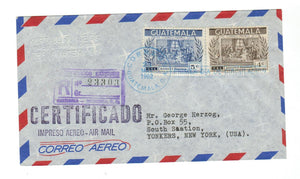 GUATEMALA. 1962. (C 255-56) REGISTERED AIR MAIL TO YONKERS, N.Y., U.S.A.