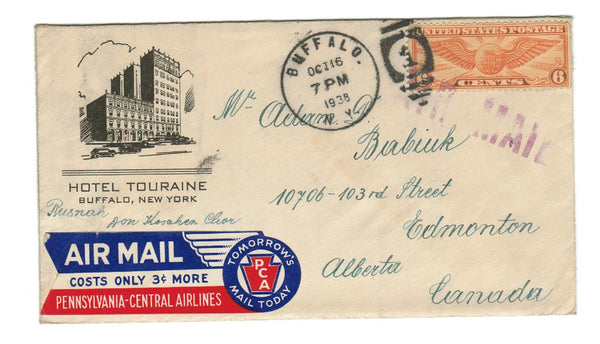 USA HOTEL TOURAINE. AD COVER. BUFFALO, N.Y. 1938 AIRMAIL TO CANADA.  ATTRACTIVE AIRMAIL LABEL.