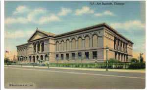 ART INSTITUTE BUILDING CHICAGO ILLINOIS U.S. LINEN POSTCARD IL