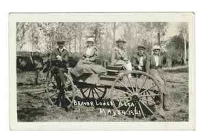 AB. BEAVERLODGE. RPPC. RESIDENTS & WAGON. MAY 24, 1921. QUEEN VICTORIA'S BIRTHDAY.