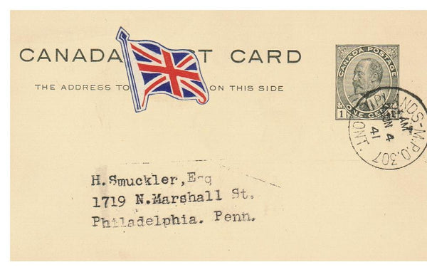 CANADA MILITARIO M.P.O: #307 UPLANDS ONT. 1941 TO U.S.A. EARLY USE, PATRIOTIC LABEL (KE POSTAL STATIONARY CARD)
