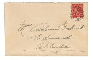 AB. ELK POINT & EDMONTON RPO W229 1939 SOCK  ON THE NOSE CANCEL TO EDWARD ALberta