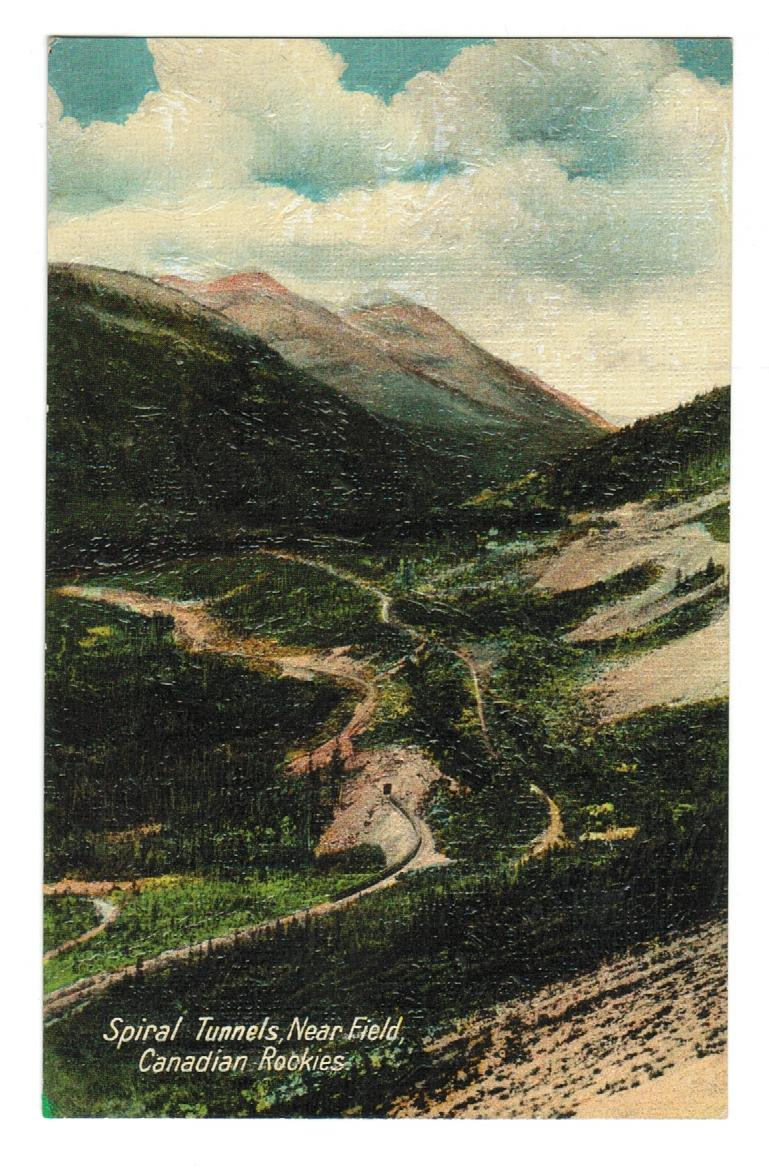 ROCKY MOUNTAINS. SPIRAL TUNNELS. POSTCARD. CANADA.