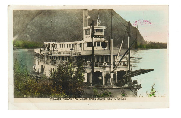 SHIP STEAMER SS YUKON RPPC POSTCARD 1939 YUKON RIVER ABOVE ARCTIC CIRCLE CANADA
