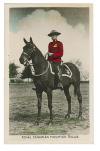 OLD RCMP RPPC Postcard.  Mounted on HORSE. Canada. Gowen and Sutton Tinted.