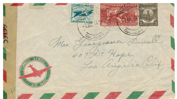 MEXICO TO LOS ANGELES CA. 1944 WWII CENSORED AIRMAIL COVER TO U.S.
