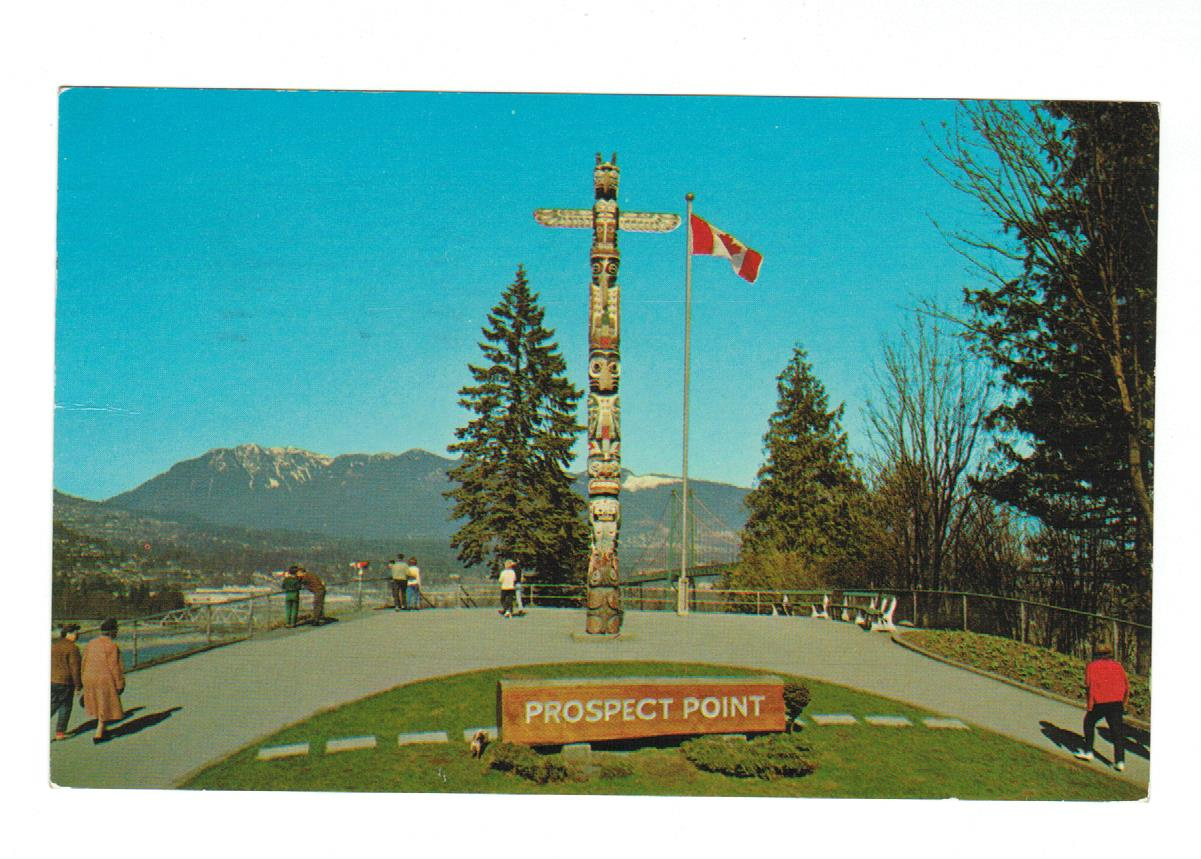 HAND CARVED INDIAN TOTEM POLE AT PROSPECT POINT VANCOUVER BRITISH COLUMBA  THE LOOKOUT  POSTCARD