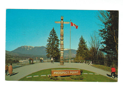 "HAND CARVED INDIAN TOTEM POLE AT PROSPECT POINT. VANCOUVER, BC. ""THE LOOKOUT"".  CHROME POSTCARD."