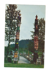 NATIVE TOTEM POLES AT CHIEF SHAKES ISLAND. WRANGELL, AK. POSTCARD. UNITED STATES.
