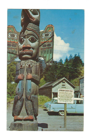 JOHNSON TOTEM POLE.  KETCHIKAN ALASKA. POTLATCH POLES. UNITED STATES. POSTCARD.