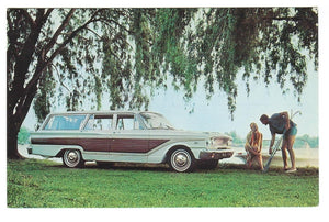 OLD 1963 FORD FARLANE SQUIRE WAGON. CHROME POSTCARD.