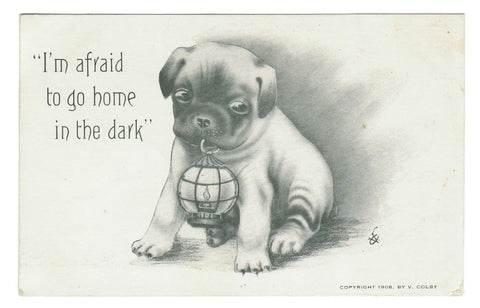 "PUPPY/DOG. ""I'M AFRAID TO GO HOME IN THE DARK"". VINTAGE POSTCARD. COPYRIGHT 1908 V. COLBY."