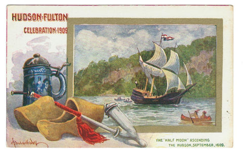 Vintage Postcard. The Half-Moon Ascending The Hudson River 1609.  Exposition Hudson-Fulton. 1909. NY, USA.