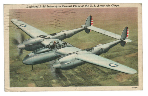 MILITARY AIRPLANE. LOCKHEED P-38 INTERCEPTOR USED 1944 B/G. POSTCARD. USA.