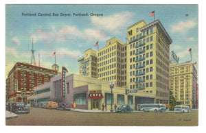 CENTRAL BUS DEPOT STATION PORTLAND OR. U.S. POSTCARD