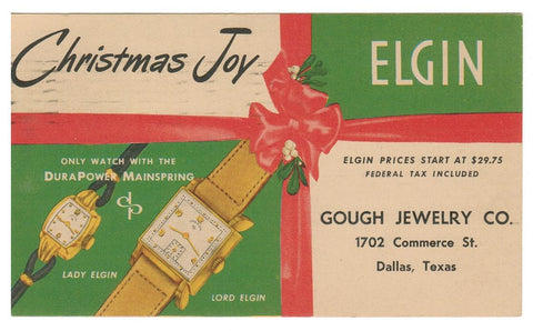 CHRISTMAS POSTAL STATIONERY BULOVA USA. GOUGH JEWELERY CO.