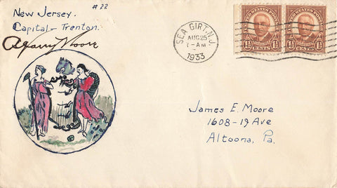 Sea Girt, NJ. 1933 Cover. Likely Signed And Sent By Govenor A. Harry Moore. USA