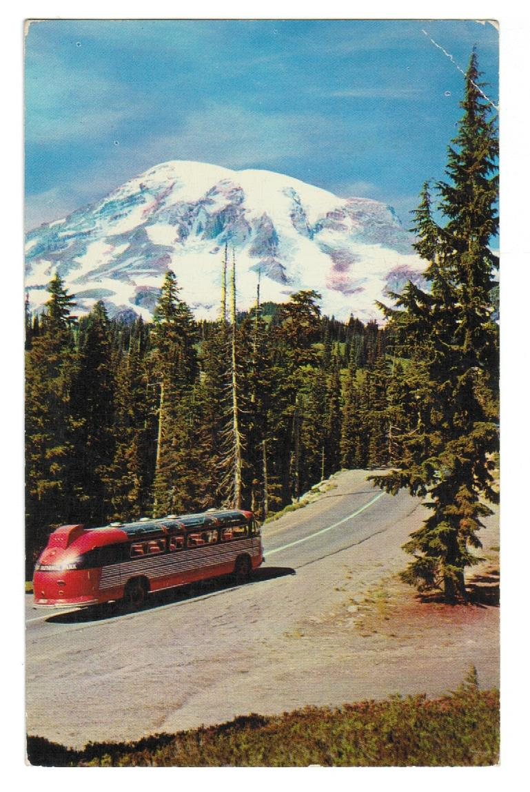 OLD SIGHTSEEING BUS. RAINIER NATIONAL PARK. 1957. USA POSTCARD.