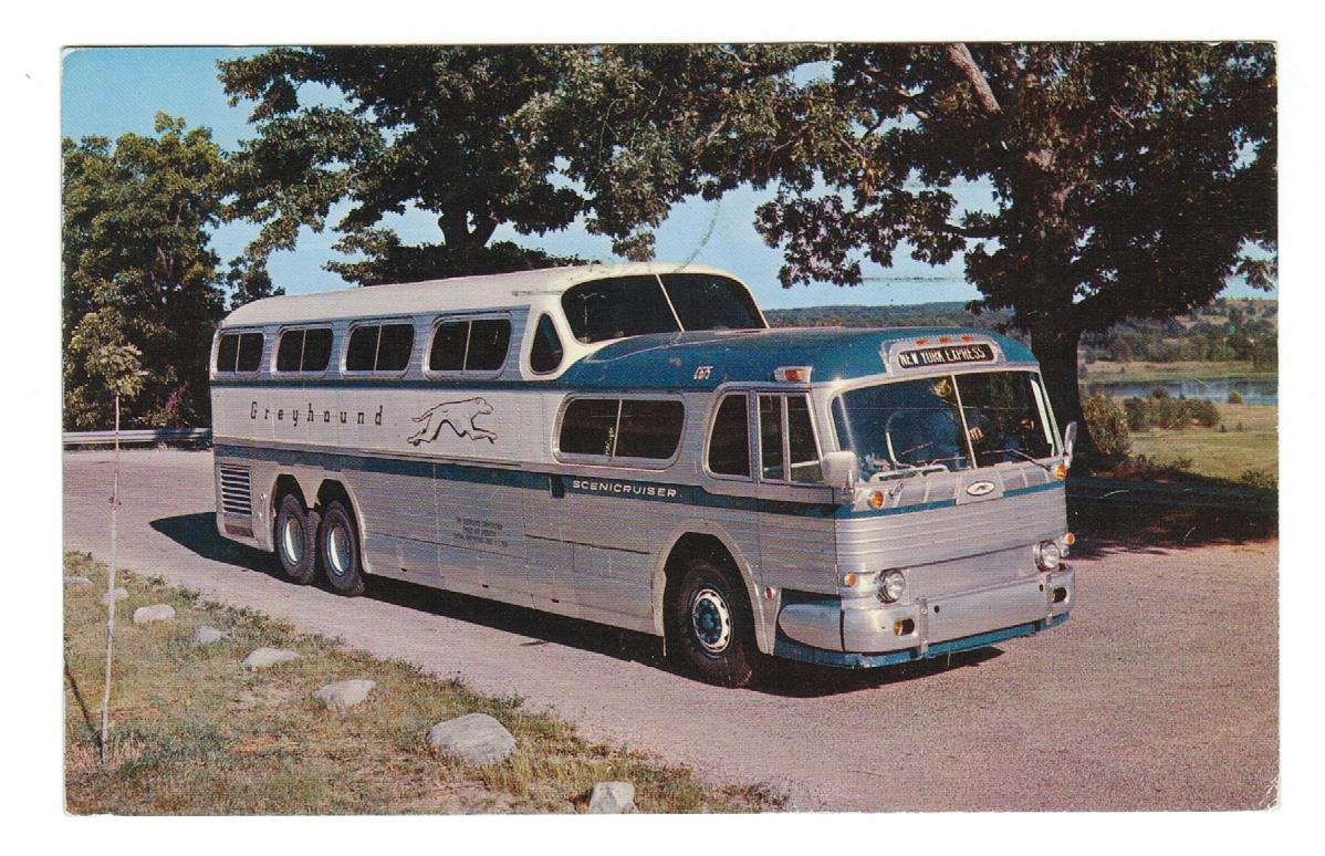 BUS. The Greyhound Scenic Cruiser.  Chrome Postcard.