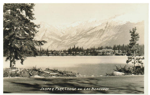 JASPER PARK LODGE REAL PHOTO POSTCARD ALBERTA CANADA, LAC BEAUVERE PHOTOGRAPHER F.H. SLARK
