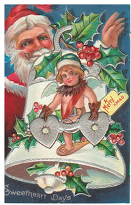 "VINTAGE SANTA POSTCARD (RED SUIT) TOYS, BELL, MISTLETOE ""SWEETHEART DAYS"" EMBOSSED VINTAGE 1905-1915"