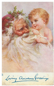 "VINTAGE SANTA POSTCARD WITH CHILD & HOLLY ""LOVING CHRISTMAS GREETINGS"""