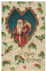 "VINTAGE SANTA POSTCARD (RED SUIT WITH TOY SACK & STAFF), HOLLY, EMBOSSED. ""MERRY CHRISTMAS"""