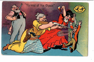 "LEAP YEAR VINTAGE POSTCARD COMIC ""THE END OF THE CHASE"" 1900'S"