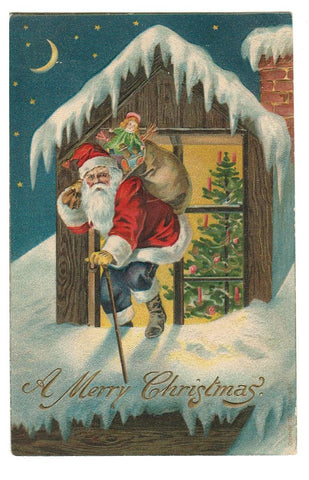 VINTAGE ROOFTOP SANTA WITH TOY SACK & STAFF.  VINTAGE POSTMARKED 1907 EMBOSSED POSTCARD