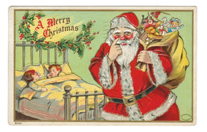 "VINTAGE JOLLY RED SANTA. EMBOSSED POSTCARD. TOY SACK & SLEEPING CHILDREN 1909 ""A MERRY CHRISTMAS""."