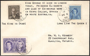Hamilton, ON. Mourning Cover. King George VI Passing. Long Live The Queen. Canada