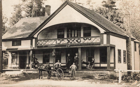 Keene, NH. RPPC Postcard. Lodge With Horse and Wagon. Canada
