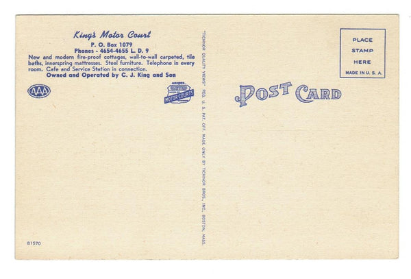 FL. KINGS MOTOR COURT, PANAMA CITY. LINEN POSTCARD. USA