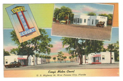 FLORIDA, KINGS MOTOR COURT, PANAMA CITY  LINEN POSTCARD