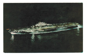 NIGHT SCENE  NAVY JET BEING CATAPULTED FROM U.S.S. ANTIETAM  CHROME POSTCARD