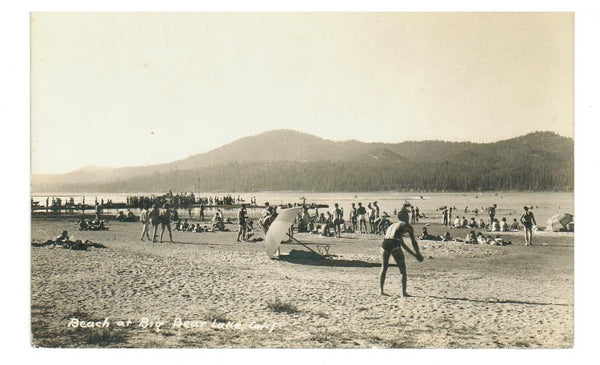 CA, BIG BEAR LAKE. RPPC POSTCARD.  BEACH & PIER. USA